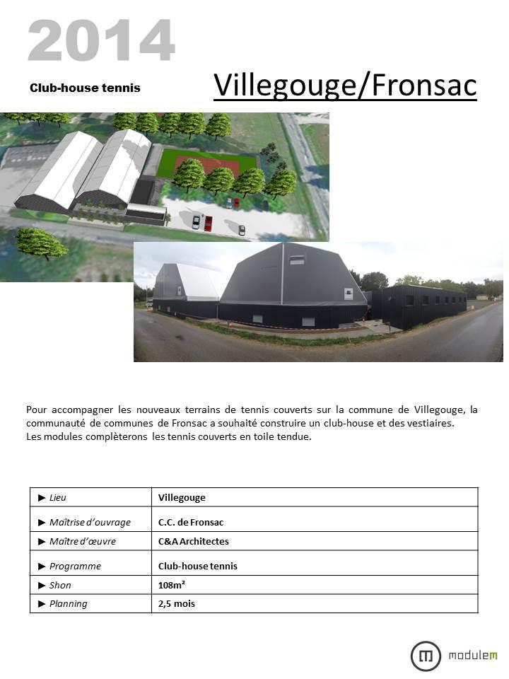 11 VILLEGOUGE FRONSAC TENNIS TOILE TENDUE CLUB HOUSE MODULAIRE MODULEM