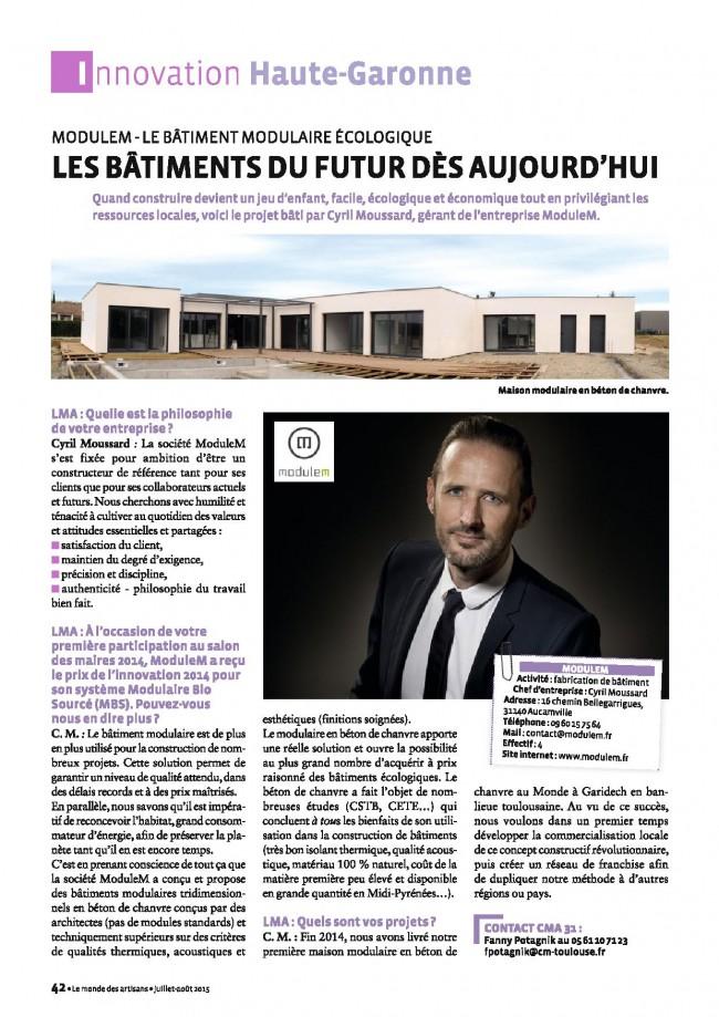 La CCI a consacré un bel article sur notre société ModuleM sur le magazine juillet/août 2015